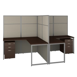 "Bush Business Furniture Easy Office 60""W 2-Person L-Shaped Cubicle Desk With Drawers And 66""H Panels, Mocha Cherry, Premium Installation"