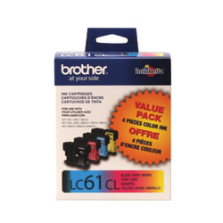 Brother® LC61 Black/Color Ink Cartridges, Pack Of 4