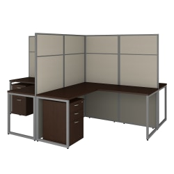 """Bush Business Furniture Easy Office 60""""W 4-Person L-Shaped Cubicle Desk With Drawers And 66""""H Panels, Mocha Cherry, Premium Installation"""