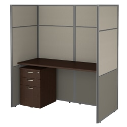"""Bush Business Furniture Easy Office 60""""W Cubicle Desk With File Cabinet And 66""""H Closed Panels Workstation, Mocha Cherry, Standard Delivery"""