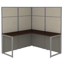 Bush Business Furniture Easy Office 60W L Shaped Cubicle Desk Workstation With 66H Panels, Mocha Cherry, Standard Delivery