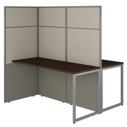Bush Business Furniture Easy Office 60W 2 Person Cubicle Desk Workstation With 66H Panels, Mocha Cherry, Standard Delivery