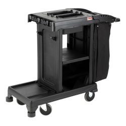 """Suncast Commercial® Resin Cleaning Cart, Compact, 46-5/8""""H x 2-1/4""""W x 43-7/16""""D, Black"""
