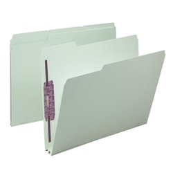"""Smead® Pressboard Fastener Folders With SafeSHIELD® Fasteners, 2"""" Expansion, Letter Size, 100% Recycled, Gray/Green, Box Of 25"""