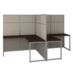"""Bush Business Furniture Easy Office 60""""W 2-Person L-Shaped Cubicle Desk Workstation With 66""""H Panels, Mocha Cherry, Standard Delivery"""