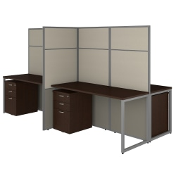 "Bush Business Furniture Easy Office 60""W 4-Person Cubicle Desk With File Cabinets And 66""H Panels, Mocha Cherry, Standard Delivery"