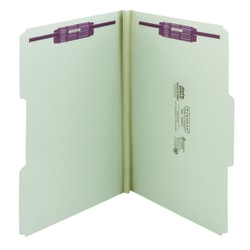 """Smead® Pressboard Fastener Folders With SafeSHIELD® Coated Fasteners, 1"""" Expansion, Legal Size, 100% Recycled, Gray/Green, Box Of 25"""