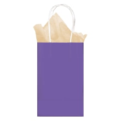 """Amscan Small Kraft Paper Gift Bags, 8-1/4""""H x 5-1/4""""W x 2-1/4""""D, Purple, Pack Of 24 Bags"""