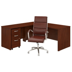 "Bush Business Furniture Studio C 72""W L-Shaped Desk With Mobile File Cabinet And High-Back Office Chair, Hansen Cherry, Standard Delivery"