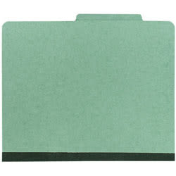Office Depot® Brand Pressboard Classification Folder, 1 Divider, 4 Partitions, 1/3 Cut, Letter Size, 30% Recycled, Green