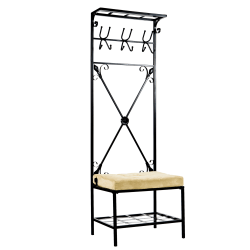 "Southern Enterprises Multipurpose Decorative Coat Rack, Bench Seat, 72 1/2""H x 24""W x 18""D, Black/Beige"
