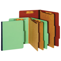 Office Depot® Brand Pressboard Classification Folder, 1 Divider, 4 Partitions, 1/3 Cut, Letter Size, 30% Recycled, Red/Brown