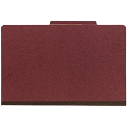 Office Depot® Brand Pressboard Classification Folder, 2 Dividers, 6 Partitions, 1/3 Cut, Legal Size, 30% Recycled, Red/Brown