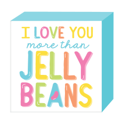 "Amscan Easter Love You More Than Jellybeans Standing Plaques, 7-1/2"" x 7-1/2"", Multicolor, Set Of 3 Plaques"