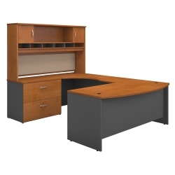"Bush Business Furniture Components 72""W Left-Handed Bow-Front U-Shaped Desk With Hutch And Storage, Natural Cherry/Graphite Gray, Standard Delivery"