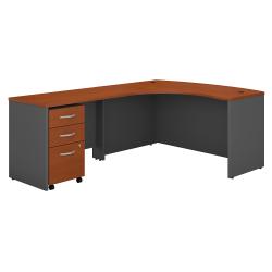 Bush Business Furniture Components Left-Handed L-Shaped Desk With Mobile File Cabinet, Auburn Maple/Graphite Gray, Standard Delivery