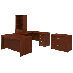 """Bush Business Furniture Studio C 60""""W x 36""""D U-Shaped Desk With Bookcase And File Cabinets, Hansen Cherry, Standard Delivery"""