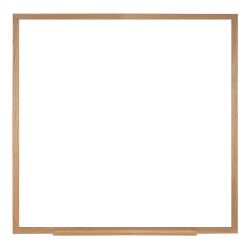 """Ghent Magnetic Dry-Erase Whiteboard, 48 1/2"""" x 48 1/2"""", Brown Wood Frame"""