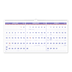 "AT-A-GLANCE® 3-Month Reference 15-Month Wall Calendar, 24"" x 12"", December 2020 to February 2022, PM1428"