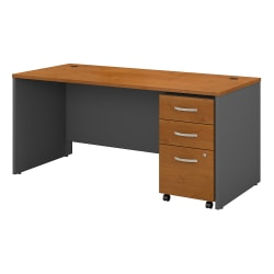 """Bush Business Furniture Components 66""""W x 30""""D Office Desk With Mobile File Cabinet, Natural Cherry/Graphite Gray, Standard Delivery"""