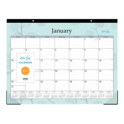 """Blue Sky™ Monthly Desk Pad Calendar, 22"""" x 17"""", Rue Du Flore, January to December 2021, 101609"""