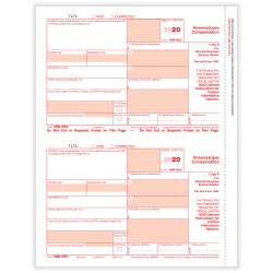 "ComplyRight 1099-NEC Tax Forms, Federal Copy A, 2-Up, Laser, 8-1/2"" x 11"", Pack Of 25 Forms"
