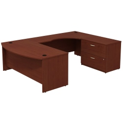 Bush Business Furniture Components Bow-Front Right-Handed U-Shaped Desk With 2-Drawer Lateral File Cabinet, Mahogany, Standard Delivery