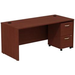 Bush Business Furniture Components Desk With 2-Drawer Mobile Pedestal, Mahogany, Standard Delivery