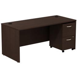 Bush Business Furniture Components Desk With 2-Drawer Mobile Pedestal, Mocha Cherry, Standard Delivery