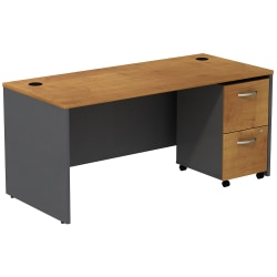 Bush Business Furniture Components Desk With 2-Drawer Mobile Pedestal, Natural Cherry/Graphite Gray, Standard Delivery