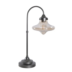 "Kenroy Home Rain Drop LED Table Lamp, 12-1/8""H, Amber Glass Shade/Warm Bronze Base"