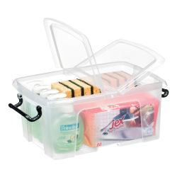 CEP Strata Smart Storemaster Storage Box With Butterfly Closure, 12 Liters, Clear