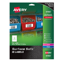 """Avery® Surface Safe™ ID Labels, 61502, 1 5/8"""" x 3 5/8"""", White, Pack Of 300 Labels"""