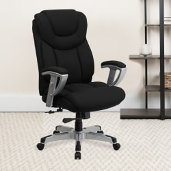 Flash Furniture Hercules Big And Tall Fabric Swivel Office Chair With Adjustable Arms, Black