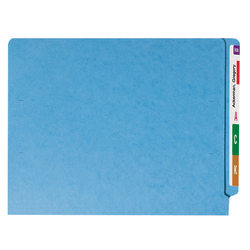 Smead® Color End-Tab Folders, Straight Cut, Letter Size, Blue, Box Of 100