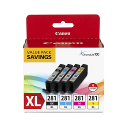 Canon CLI-281XL High-Yield Black/Cyan/Magenta/Yellow Ink Tanks, Pack Of 4