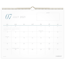 """Cambridge® WorkStyle Academic Monthly Wall Calendar, 15"""" x 12"""", July 2021 To June 2022, 1557-707A"""