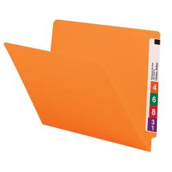 Smead® Color End-Tab Folders, Straight Cut, Letter Size, Orange, Box Of 100