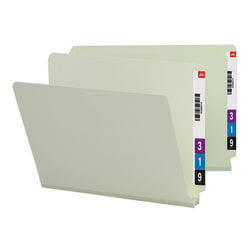 Smead® Extra-Strength Pressboard End-Tab Folders, Straight Cut, Letter Size, 60% Recycled, Gray/Green, Pack Of 25