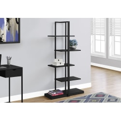 Monarch Specialties 5-Shelf Zigzag Metal Bookcase, Black