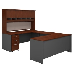 "Bush Business Furniture Components 72""W U-Shaped Desk With Hutch And Storage, Hansen Cherry/Graphite Gray, Standard Delivery"