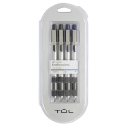 TUL® Retractable Ballpoint Pens, Medium Point, 1.0 mm, Silver Barrels, Assorted Inks, Pack Of 4 Pens