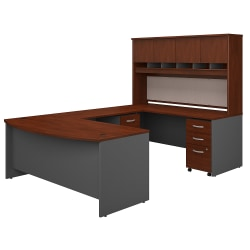 """Bush Business Furniture Components 72""""W Bow-Front U-Shaped Desk With Hutch And Storage, Hansen Cherry/Graphite Gray, Standard Delivery"""