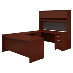 "Bush Business Furniture Components 72""W Bow-Front U-Shaped Desk With Hutch And Storage, Mahogany, Standard Delivery"