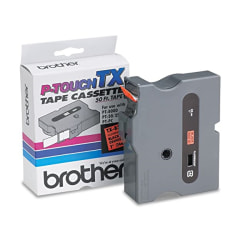 "Brother P-Touch TX Laminated Tape - 1"" Width x 50 ft Length - Direct Thermal - Black - 1 Each"