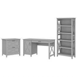 """Bush Furniture Key West 54""""W Computer Desk With 2-Drawer Lateral File Cabinet And 5-Shelf Bookcase, Cape Cod Gray, Standard Delivery"""