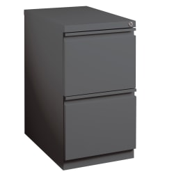 "WorkPro® 19-7/8""D Vertical 2-Drawer Mobile Pedestal File Cabinet, Metal, Charcoal"