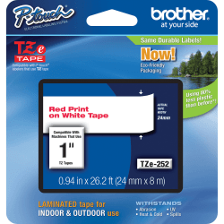 """Brother® TZe-252 Red-On-White Tape, 1"""" x 26.2'"""