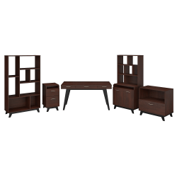 "kathy ireland® Office by Bush Business Furniture Centura 60""W Writing Desk With File Cabinets, Bookcase, Accent Storage Cabinet And Bookcase Hutch, Century Walnut, Standard Delivery"