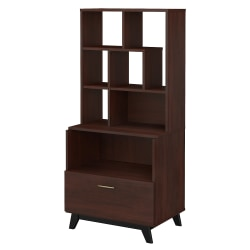 "kathy ireland® Office by Bush Business Furniture Centura 30""W Lateral 1-Drawer File Cabinet With Bookcase Hutch, Century Walnut, Standard Delivery"